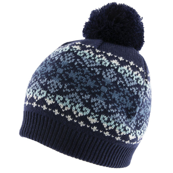 Dents Fairisle Faded Pattern Knitted Beanie Hat with Pom Pom in Navy Blue