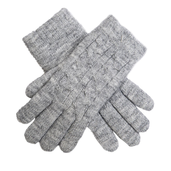 Dents Dove Grey Cable Knit Ladies Gloves Fleece Lined