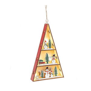 Christmas Triangle LED House Snowmen - Caths Direct