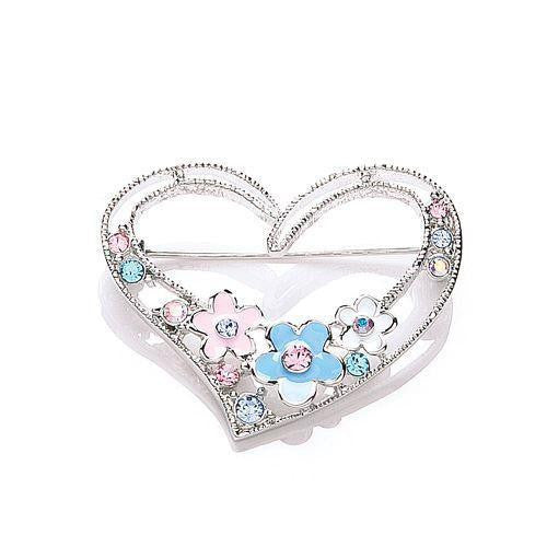 Essentials Silver Enamel Flower Stone Set Heart Brooch - Caths Direct