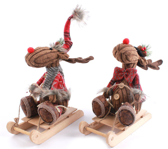 Christmas Reindeer on Wooden Sledge - Caths Direct