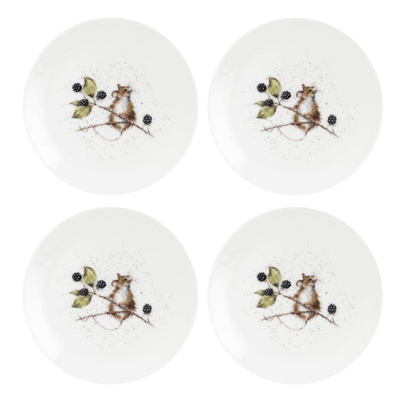 Wrendale Mouse Design Set of 4 Coupe Plates 8