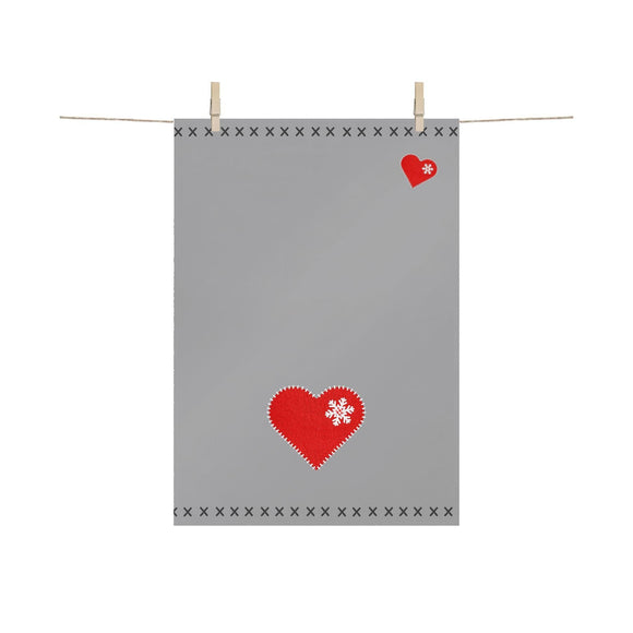 Heart Felt Christmas Design Grey Tea Towel - Caths Direct