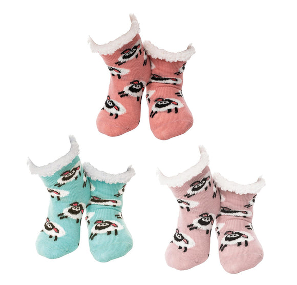 Girls Nuzzles Sherpa Slipper Socks Fleece Lined Cozy Sheep Choice of Colours - Caths Direct