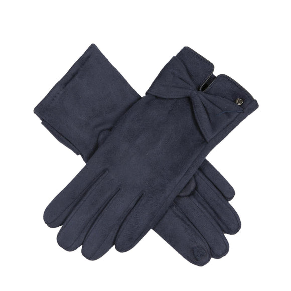Dents Ladies Faux Suede Touchscreen Fingertips Gloves with Bow Detail in Navy - Caths Direct