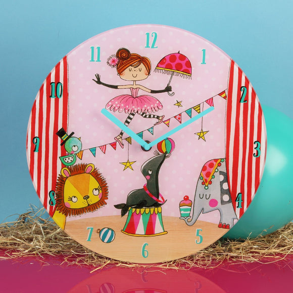 Pink Circus Design Round Glass Wall Clock by Rachel Ellen Collection - Caths Direct