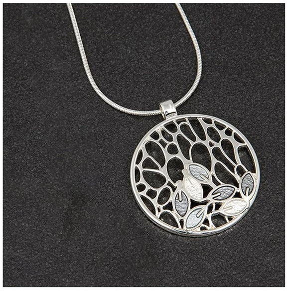 Equilibrium Leaves Design Circle Pendant Necklace