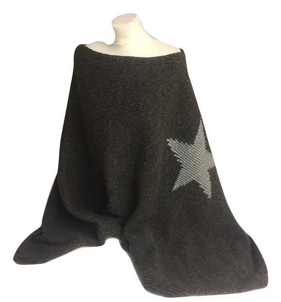 Ladies Dark Grey Poncho with Silver Star - Caths Direct