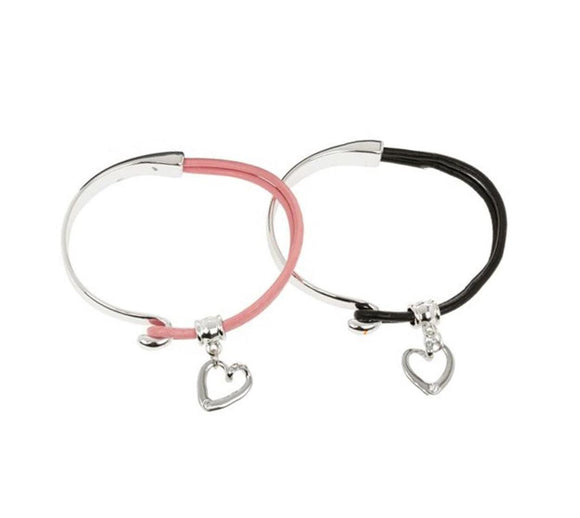 Equilibrium Stone Set Leather Half Bangles Pink or Black, Each Sold Individually - Caths Direct