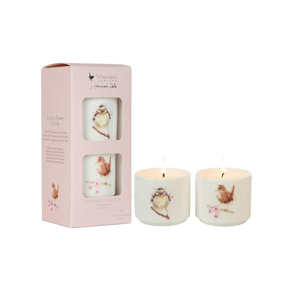 Wrendale Birds Illustration Ceramic Candles Gift Set Hedgerow - Caths Direct