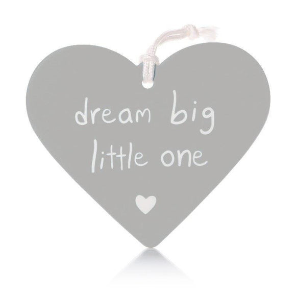 Dream Big Little One Grey Ceramic Hanging Heart - Caths Direct