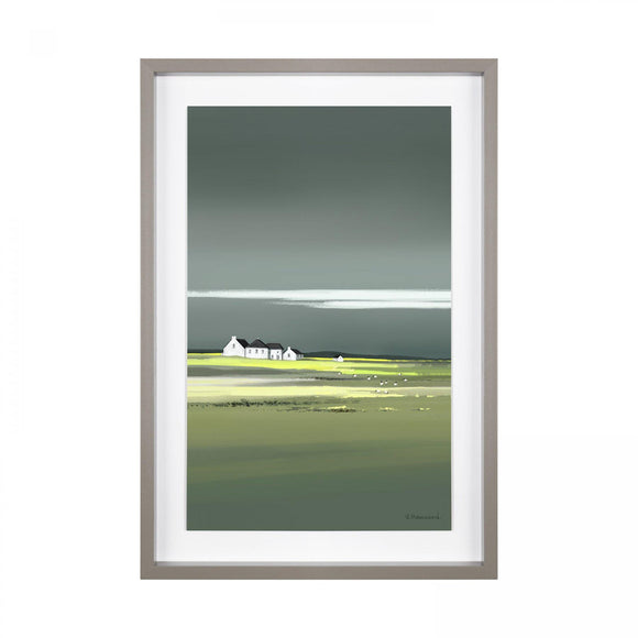 Ethos Grey & Green Landscape of White Cottages Print Framed Picture - Caths Direct