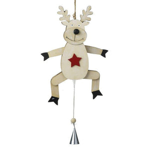 Wooden Reindeer With Pull String Moving Legs Christmas Decoration - Caths Direct