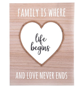 Hanging Wall Plaque 'Family Is Where Life Begins And Love Never Ends' - Caths Direct