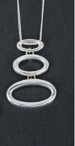 Silver Plated Triple Oval Pendant Necklace - Caths Direct