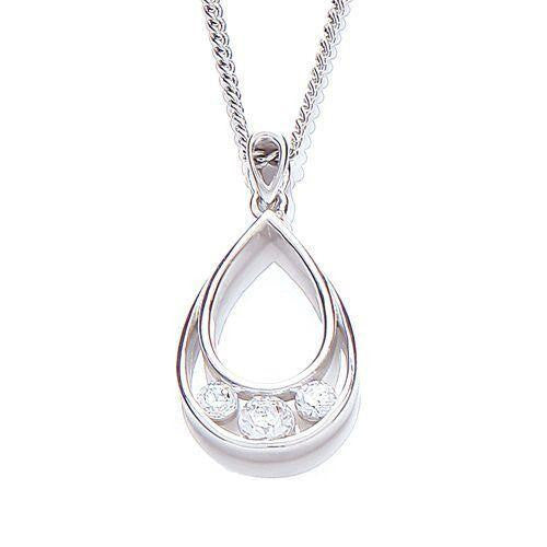 Purity Silver Cubic Zirconia Pear Shape Pendant Necklace - Caths Direct