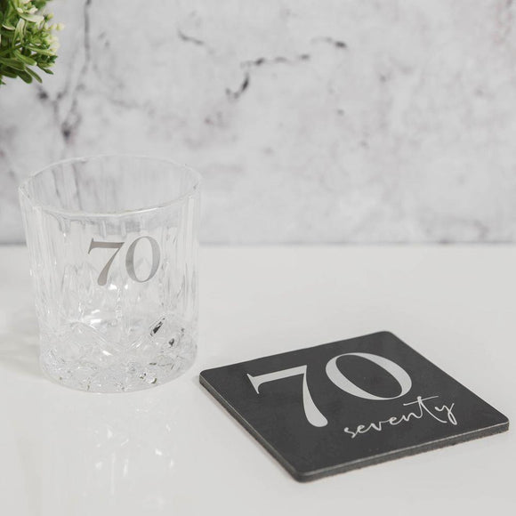 Whisky Glass & Coaster Gift Set for 70th Birthday