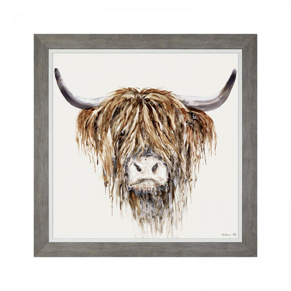 Freddie the Highland Coo Large Framed Picture - Caths Direct