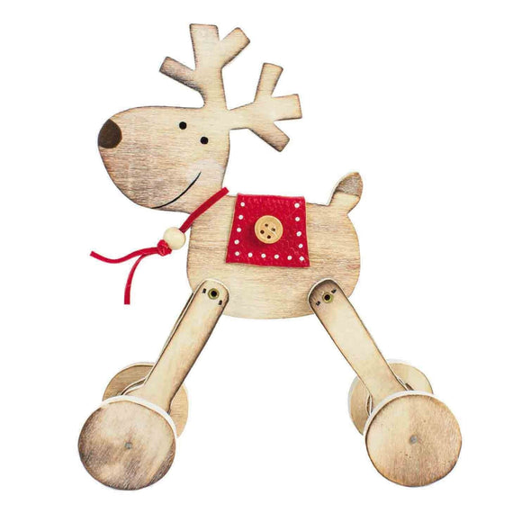 Wooden Reindeer on Wheels Christmas Decoration