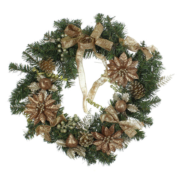 Christmas Wreath with Gold Decoration - Caths Direct