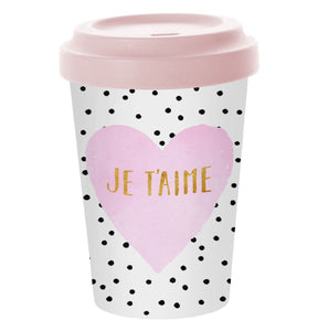 Travel Mug Bamboo Je t'aime - Caths Direct