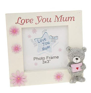 Love You Mum Teddy Bear Photo Frame 3 x 3 - Caths Direct