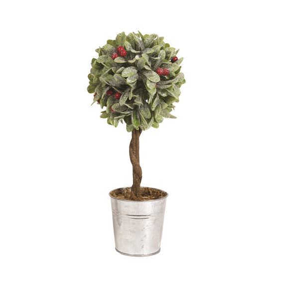 Christmas Leaf & Red Berry Tpiary Tree 30cm - Caths Direct