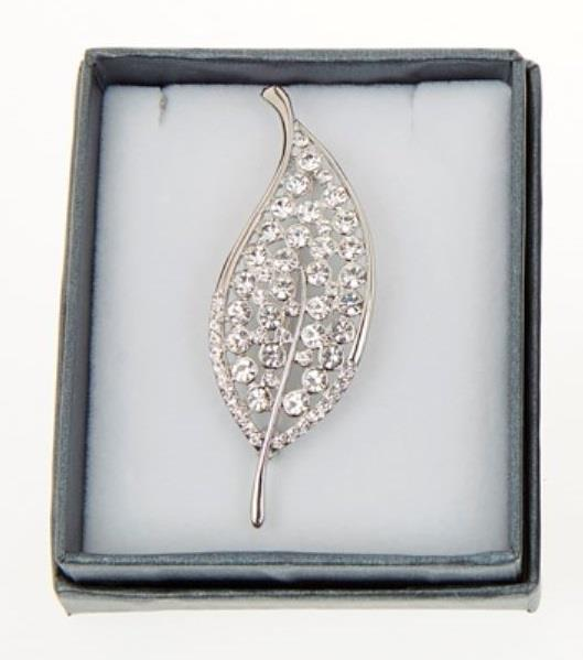 Silver Plated Stone Set Leaf Brooch - Caths Direct
