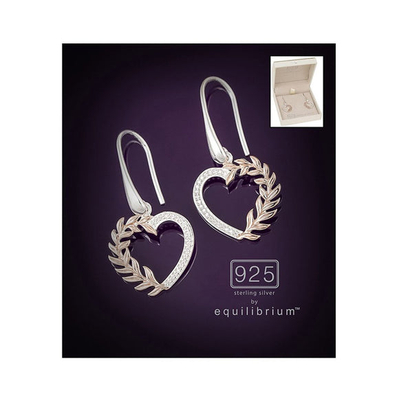 Sterling Silver & Rose Gold Leaves Heart Earrings - Caths Direct