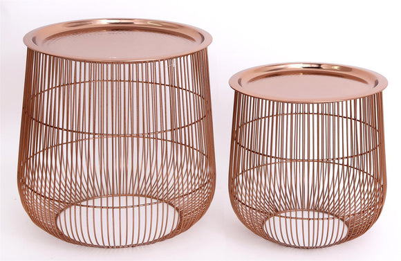 Set of 2 Rose Gold Colour Metal Tables with Lids - Caths Direct