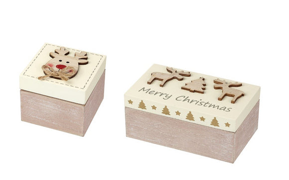 Wooden Christmas Box Set Merry Christmas & Reindeer Lids - Caths Direct