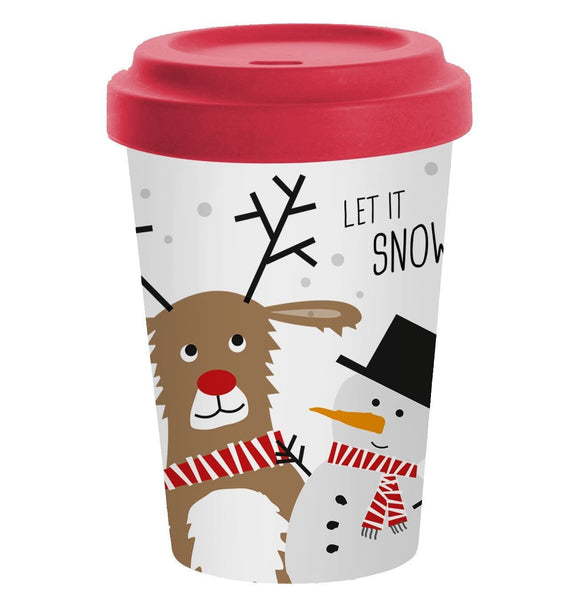 Snow Friends Design Bamboo Travel Mug