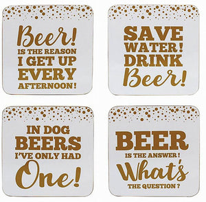 Gold Edition Beer Coasters Set of 4 - Caths Direct