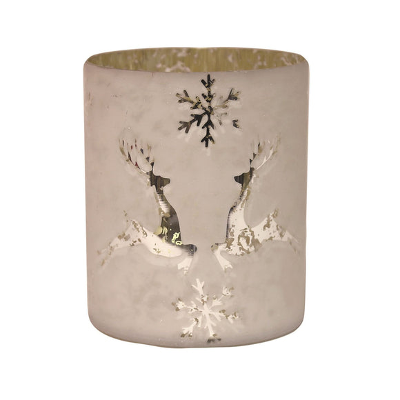 Reindeer Design Candle Vase 15cm - Caths Direct