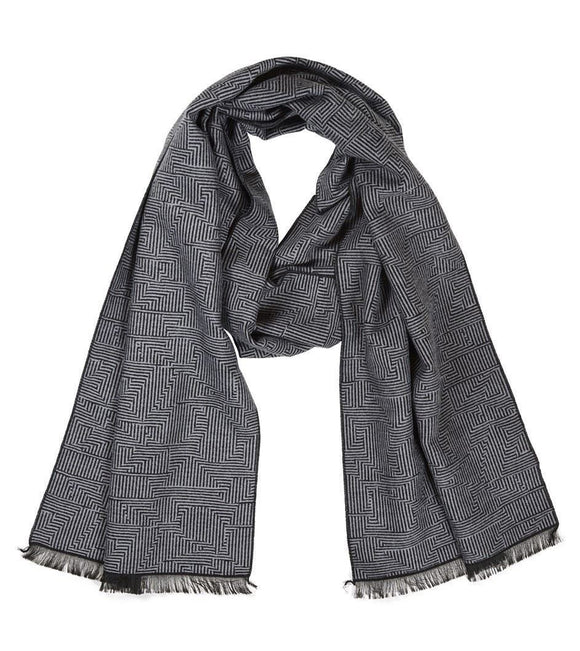 Quintessential Men's Scarf Geo Black & Grey Design - Caths Direct