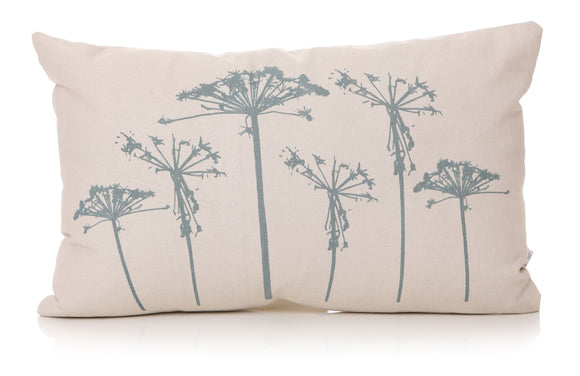 Cushion Cream & Blue Dandelion Design 30cm X 50cm - Caths Direct
