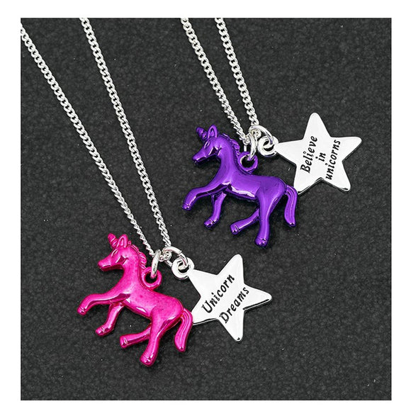 Unicorn & Silver Star Pendant Necklace