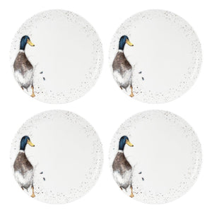 "Wrendale Duck Design 10.5"" Coupe Plates Set of 4 - Caths Direct"