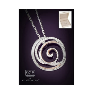 Silver & Rose Gold Swirl Pendant Necklace - Caths Direct