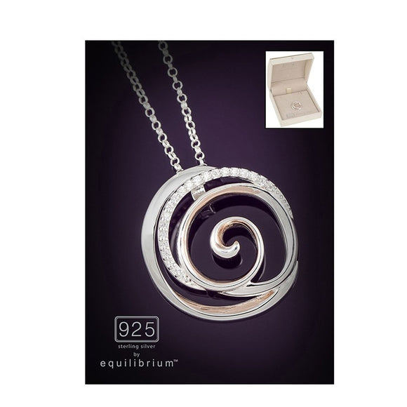 Silver & Rose Gold Swirl Pendant Necklace