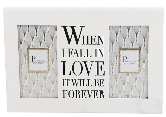 Double White Box Photo Frame with When I Fall In Love Message