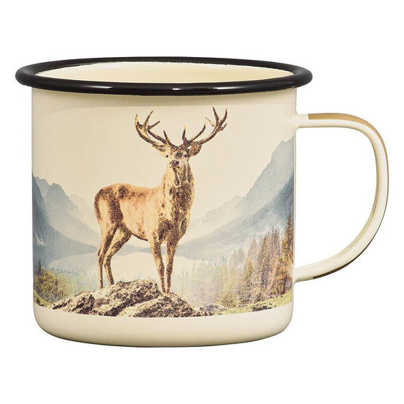 Orla Kiely Gentlemen's Hardware Camping & Outdoor Enamel Mug Deer 500 ml - Caths Direct