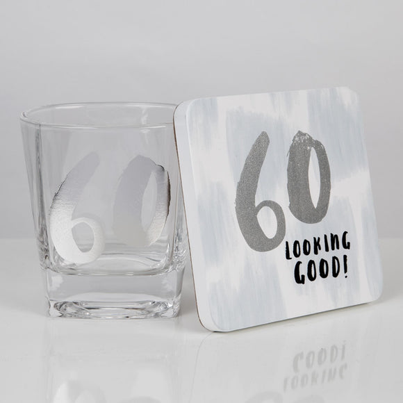 Luxe 60th Birthday Whisky Glass & Coaster Set - Caths Direct