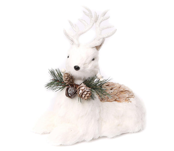 White Deer Christmas Decoration 31cm