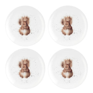 "Wrendale Squirrel Design Set of 4 Coupe Plates 8"" - Caths Direct"