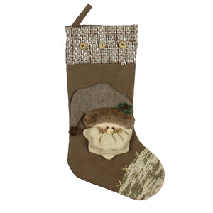 Rustic Coloured Santa Design Christmas Stocking 50cm - Caths Direct