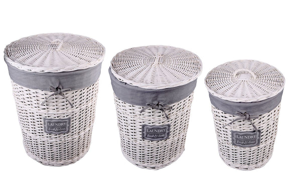 Set of 3 Willow Laundry Baskets with Lids - Caths Direct