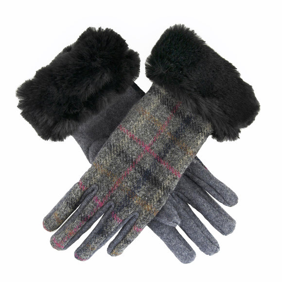 Dents Women's Abraham Moon Tweed Gloves with Faux Fur Cuffs - Caths Direct