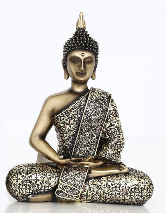Antique Gold Effect Seated Buddha 27cm - Caths Direct
