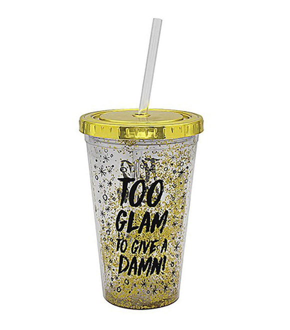 Gold Glitter Party Cooler Cup 'Too Glam To Give A Damn!' - Caths Direct